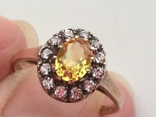 BEAUTIFUL 9ct VINTAGE/DECO CITRINE AND PASTE RING.