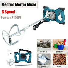 2100w Electric Mortar Mixer Stirrer Grout Cement Plaster With 6 Adjustable Speed
