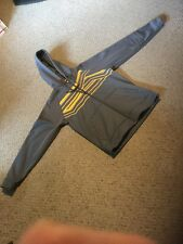Pre Owned Men's Small UNDERARMOUR Zippered Hoody.  Gray With Yellow Trim.