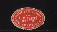 402913/ Siegelmarke - Blumen- u. Feder-Fabrik - A.E. Barré - Berlin