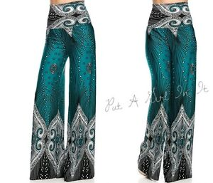 """HIGH WAISTED FOLD OVER TURQUOISE """" IT'S CHEMICAL"""" PEACOCK PALAZZO PANTS S M L"""