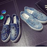 Women Girl Comfort Denim Canvas Platform Shoes Plimsoll Walking Hiking Sneaker