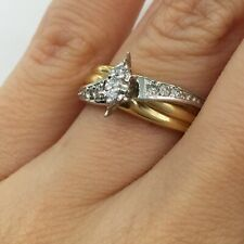 Right Hand Ring in 14k Gold G-H 0.40 Ct Round Brilliant Cut Diamond Two Tone
