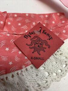 Dog Hat size Small Pet Pink Lacy Stars Ribbon Dogwear Costume Handmade LG