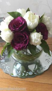 LUXURY PEONY ROSE & GRASS BOUQUET ARTIFICIAL FLOWER ARRANGEMENT IN BOWL & WATER