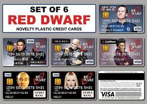 Set of 6 - Red Dwarf Novelty Plastic Credit Cards