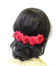 5 x Red Rose Flower Hair Pins Vintage Rockabilly Clip 1950s Bridesmaid Set 1525
