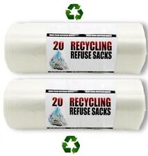 More details for 40 x eco friendly clear strong recycling bags bin rubbish refuse sacks [2 rolls]