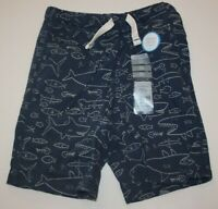 NEW Carter's Boys Blue Shark Print Shorts NWT 3T 4T 5T 6 7 12 14 year Terry