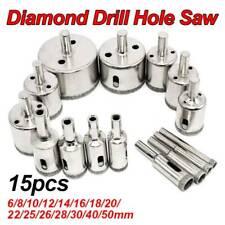15pcs Diamond Drill Bit Hole Saw Cutting Tool Set for Glass Ceramic Marble Tile