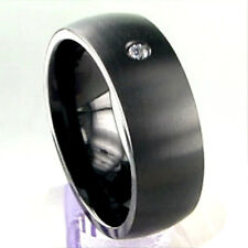 TITANIUM Black Plated Matte Polished RING with 2mm CZ, size 11 - in Gift Box