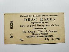 Original 7/16/1960 Ticket NHRA Drag Racing Orange Massachusetts Airport NO Res