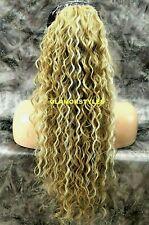 Human Hair Blend Ash Blonde Mix Curly Ponytail Hair Piece Extension 16.22.613