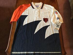 Rare Vintage LOGO ATHLETIC Chicago Bears Sharktooth Polo Shirt 90s NFL NWT XL