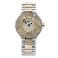 Cartier De должны 21 стальной голубой руки серебряный циферблат, кварцевые дамские винтажные часы 9011