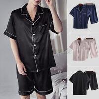 Pyjamas pour hommes mis en satin de nuit soyeux vêtements de nuit costume d'été