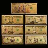 WR 7pcs color oro billete de banco de dólar estadounidense Golden dinero factura