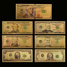 WR 7pcs color oro billete de banco de dólar estadounidense Golden dinero factura