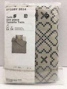 IKEA TWIN Duvet Cover with Pillowcase Ryssby Beige Black Hearts Bedlinen NEW