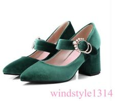 Vintage Mary Jane Pumps Shoes Womens Pointed Toe Suede Velvet Block Heel Shoes W