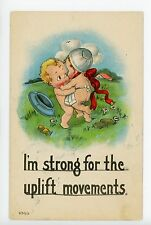 """I'm Strong"" Kewpie-type Babies Wrestling Antique PC ca. 1918"