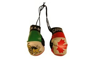 CANADA & IRAN PERSIAN LION Old Country Flags Mini BOXING GLOVES..New
