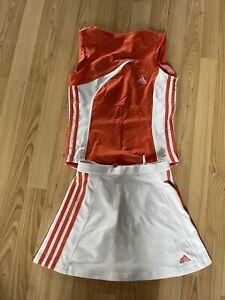 adidas skirt sleeveless top set coral white tennis golf athletic 4 Small