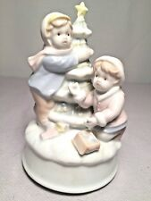 Porcelain Music Box Christmas Scene by George Good, Plays