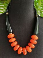 Butterscotch amber resin sandalwood chunky gemstone statement bib necklace