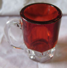 """Ruby Red Flash Glass red mini mug or stein 2"""" tall Antique Vintage"""