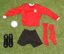 VINTAGE ACTION MAN 40th SPORTSMAN LOOSE FOOTBALLER RED SHIRT BLACK SHORTS etc