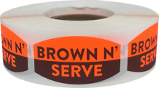 Brown N' Serve Grocery Market Stickers, 0.75 x 1.375 Inches, 500 Labels Total