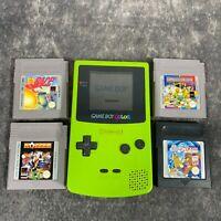 Kiwi Green Nintendo Game Boy Color GBC Handheld Console Tested + Game Bundle