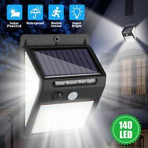 140 LED Solar Power Wall Lights Outdoor Lamp PIR Motion Sensor Waterproof Garden