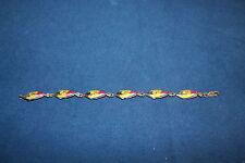 Kabana Designer Signed Sterling Silver Enamel Fish Bracelet