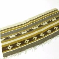 Vtg Tribal Handwoven Wool Small Throw Rug Table Runner Mat w/ Fringe
