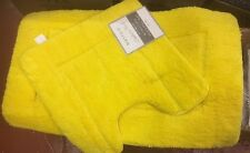 ULTIMATE MICROFIBRE CASHMERE TOUCH YELLOW 2 PIECE BATHROOM MAT & PEDESTAL SET