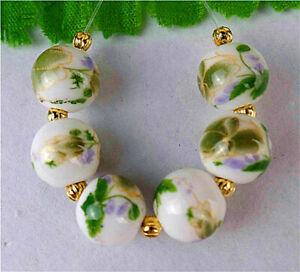 6Pcs 10mm Green Print Flower Ceramic Lantern Heigth Hole Ball Bead BT92731