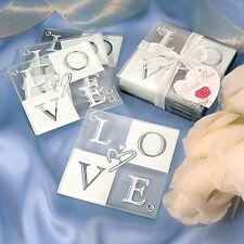Love Glass Coaster 1 Set of 4 Favor Wedding Bridal Shower Gift Party Reception