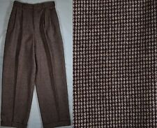 Vtg RALPH LAUREN Misses Sz 6 Brown High-Waist Houndstooth Wool Cuffed Pants