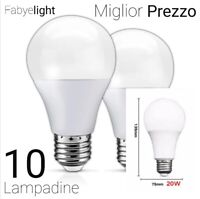 10 LAMPADINE LED E27 DA 20W LUCE CALDA/FREDDA SUPER PREZZO KIT 10 LAMPADINE 20W