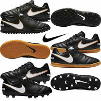 Nike Kids Boys Football Boots tiempo Rio Astro Turf FG Sports Trainers Black New