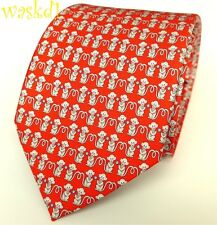 SALVATORE FERRAGAMO red YEAR OF THE MONKEY blue dots silk MENS tie NWT Authentic