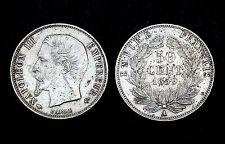 50 Centimes 1859 A (Paris). Napoléon III°. Argent. Cote TB: 40€/ TTB: 70€