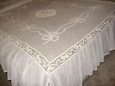Antique 1900 Vintage Battenberg Net Lace Bedspread and Pillow Cover w Net Tulle