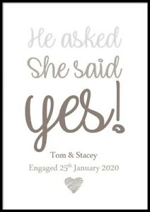 Personalised Engagement Gift Present Print Including Frame Wedding Anniversary