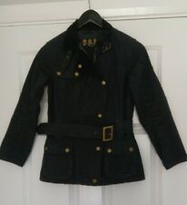 Barbour Ladies Black Waxed Cotton Military Style Belted Jacket UK Size 8