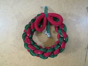 Vintage Knot weaved Christmas wreath 10 inch round bow green red