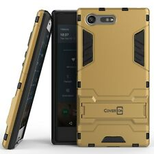 for Sony Xperia X Compact Case Armor Kickstand Slim Hard Cover Gold / Black