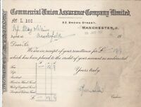 Commercial Union Assurance Company Limited Manchester 1937 Receipt Ref 37230